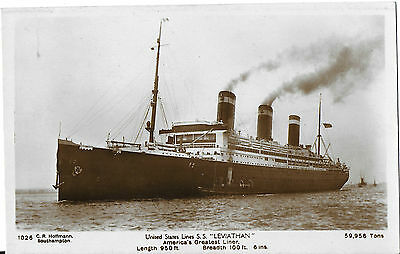 RP Card UNITED STATES LINES S.S. LEVIATHAN – C.R. Hoffmann Card - Unposted