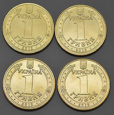 4x 2012 UKRAINE -1 HRYVNIA (GRIVNA) UNCIRCULATED  COIN (lot of 4)