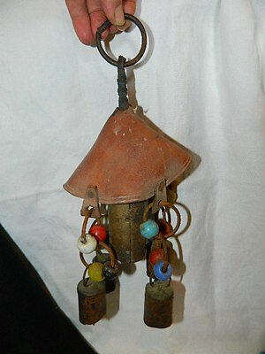VINTAGE BRASS AND LEATHER WIND CHIME BELLS OF SARNA INDIA c. 1950's