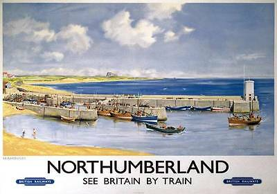 Northumberland Seahouse 50x70cm transport reproduction advert Railway Poster NEW
