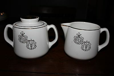 Vintage Hall China RX Gold Trim Sugar Bowl and Creamer Excellent