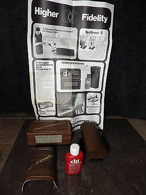 Discwasher D2 Record Cleaning Brush w 1/2 Fluid Complete Walnut Handle EXCELLENT