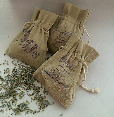LAVENDER SACHET BAGS-Lot of 3-Linen Bags-Organic Lavender-Gifts-Handmade Stamped