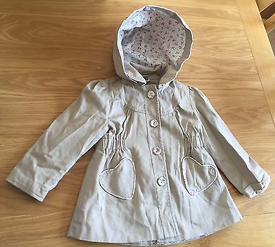 Girls Nude Hooded Coat Size 2-3 Years
