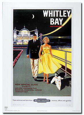 Whitley Bay Pier 1950 50x70cm Railway transport advert reproduction Poster NEW