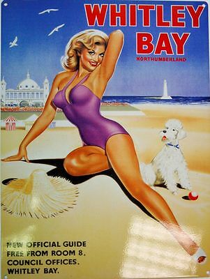 Whitley Bay It's Quicker By Rail transport advert reproduction metal Sign NEW