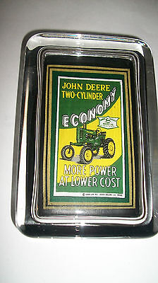 John Deere Tractor Economy Farm Implements Sign Advertising Glass PAPERWEIGHT