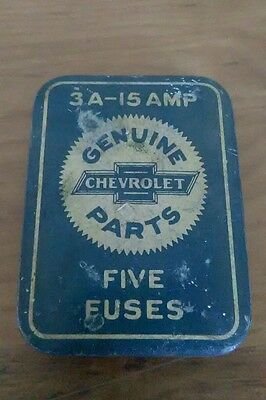 Vintage Genuine Chevrolet Chevy Parts  3A-15 Amp Fuse Tin Case W/3 Fuses