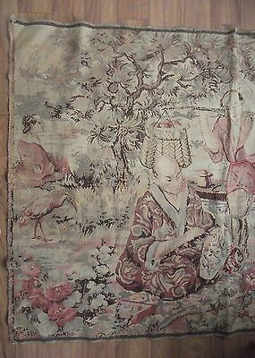 Large Old European Woven Tapestry Chinese Theme  P