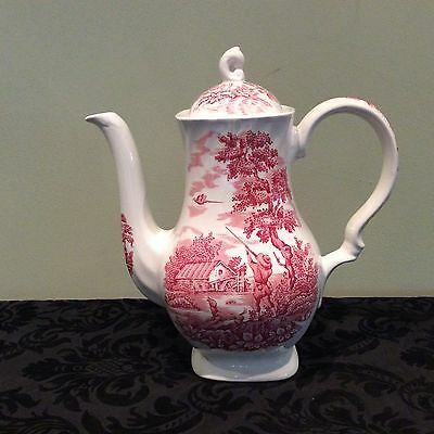Vintage Pink The Hunter by Myott Coffee Pot Hand Engraved  Staffordshire