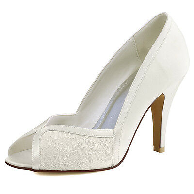 1617 Ivory White Peep Toe High Heel Lace Satin Wedding Bridal Court Shoes UK 2-9