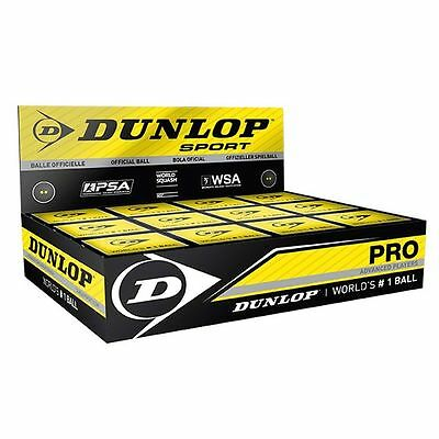 12 Dunlop Pro Double Yellow Dot Squash Balls RRP £47.99 - free post uk.