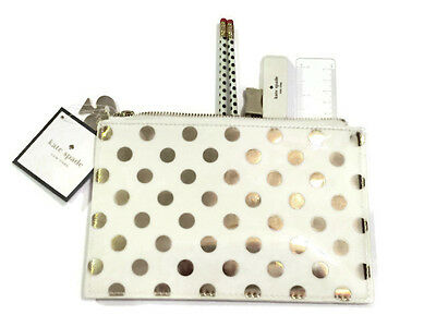 Kate Spade Pencil Pouch Gold Dots Eraser Sharpener Ruler & Pencils NWT