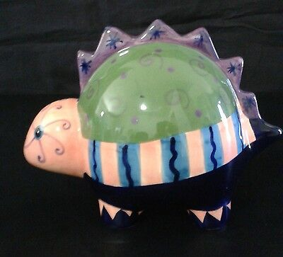 Ceramic Dinosaur Bank Colorful Artistic Hand Painted Glazed Child Nursery VGC