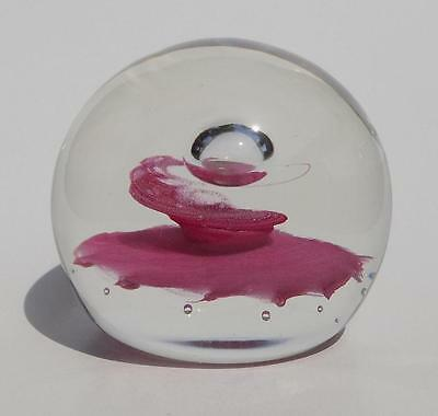 Large Vintage Caithness Pink 'sentinel' Glass Paperweight