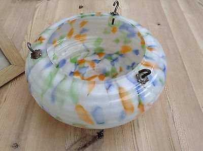 Art deco 1930's 1950's Glass Hanging Shade Ceiling Light
