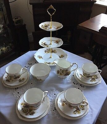 A Lovely Vintage Duchess Bone China Tea Set & 3 Tier Cake Stand New Price