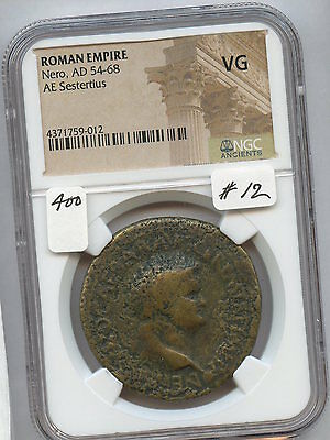 Ancient Roman Nero AD 54-68 Sestertius (#12)  NGC VG. Carefully Check out the Ph