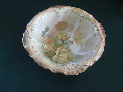 Antique Lg 10' Porcelain Bowl W Hand Painted Yellow Roses
