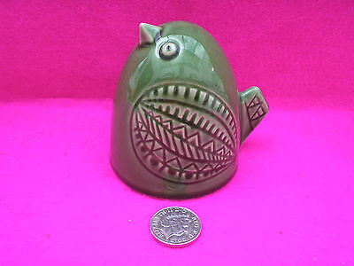 Collectable Unusual Bird/chicken Green Glaze Indent Markings Hollow