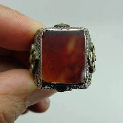 Agate Stone Silver Ring Antique Gold Gilded  Near Eastern Intaglio Rare Old