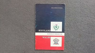 Scotland V Wales Rugby Union Programme 1963