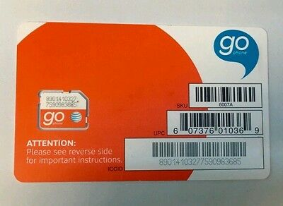 Lot Of 100 At&t Micro *go Phone* Sim Cards Sku 6007A Brand New Inactivated