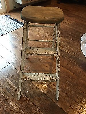 Vintage Step Stool with Seat, All Original