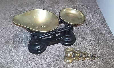A Set of Vintage Cast Alloy Kitchen Scales by Librasco including brass weights