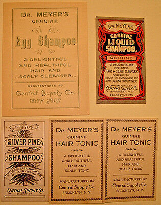 (5) Asst. 1900-1910 DR. MYERS HAIR SHAMPOO Unused Gummed Labels,Central Supply