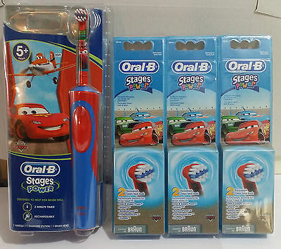 Braun Oral-B Kids Power Electric Rechargable Toothbrush Disney CARS +7 Heads AUS