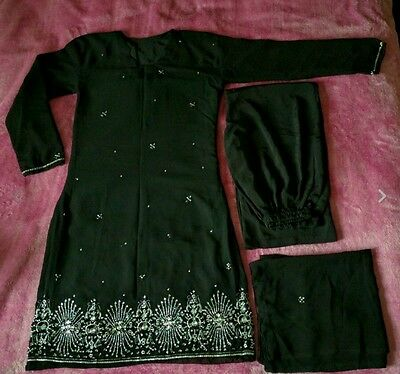 Black 3 piece Salwar Kameez Beaded Indian Pakistani Ethnic Suit Size M-L