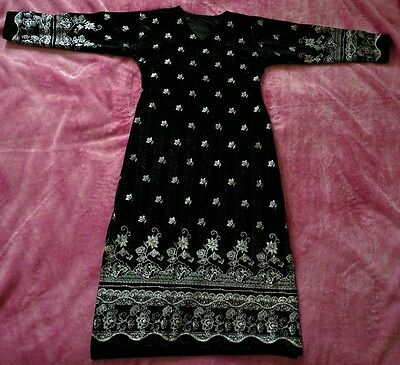 Black Silver Floral Print South Asian Dress  Kameez Mid Sleeve Small UK 6-8