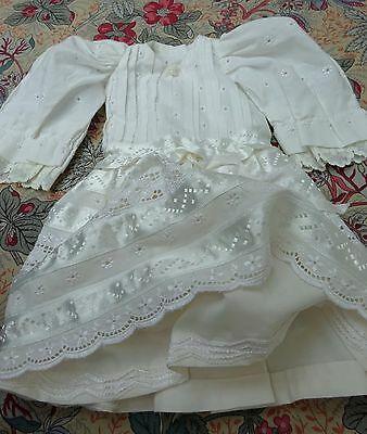 Dolls Party Dress Lace and Satin Trim Vintage Doll Clothes Outfit Frock Wedding