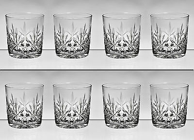 "cc373. SCARCE SET OF 8 STUART CRYSTAL WHISKY TUMBLERS - 3"" - 8oz"