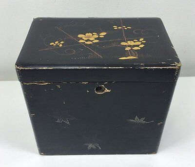 Vintage Antique Chinese Black Lacquer Tea Caddy Box - Painted Flowers