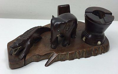 Vintage Wooden Smokers Stand - Ceylon Carved Crocodile Elephant & Foot Ashtray