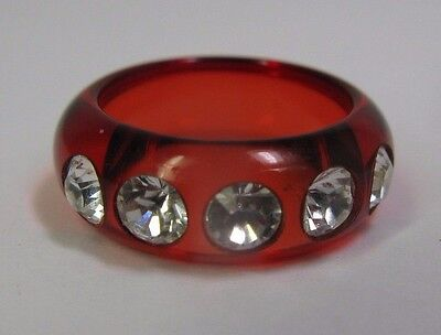 Vintage Translucent Clear Red Lucite Band Ring With Rhinestones - Size 5.5