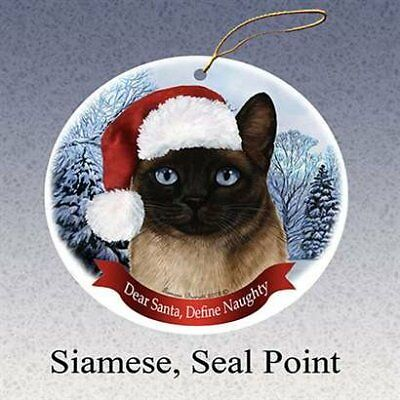 HolidayGift Siamese, Seal Point Santa Hat Cat Porcelain Christmas Tree Ornament