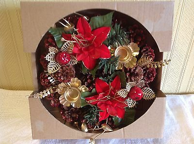 Green Red Decorated Table Centre Piece with 2 Candle Holders Christmas NEW