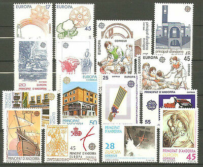 Spanish Andorra - Europa Cept  In MNH 1986 - 1993 All Sets High Catalogue Value