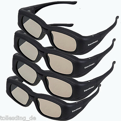 4x Rechargeable Active Shutter Bluetootooth 3D Glasses for Sony Panasonic Sharp