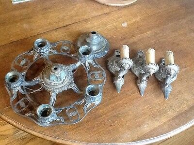 1920's Art Deco Chandelier and 3 Candlestick Sconce's  Cast Iron Vintage Lights
