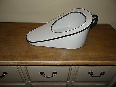 Vintage Slipper Bed Pan with Handle Metal White & Blue Trim