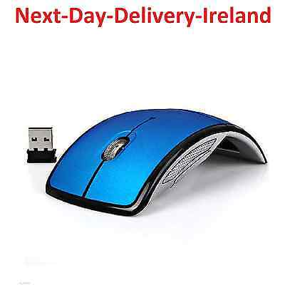 Blue USB 2.4G Receiver Optical Foldable Folding Arc Wireless Mouse Retro