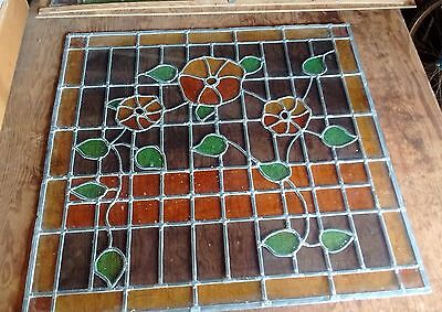 """Antique Stained Glass Window 35 1/2"""" x 35 1/4"""""""