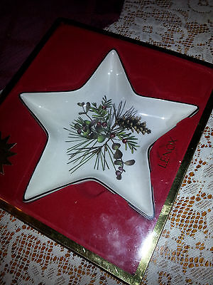 Lenox Star Candy Dish Holiday Pattern Bowl New In Box Christmas Holly