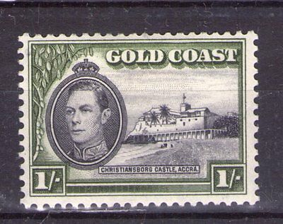 GOLD COAST  GEORGE VI 1/- SG128  12x12 perf. superb lightly hinged condition.