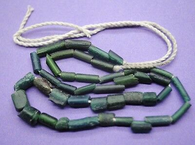 Ancient Roman glass tube bead necklace 1st-3rd century AD
