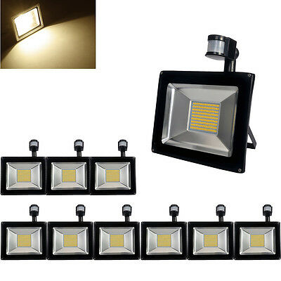 10X 100W LED PIR Motion Sensor Security Flood Light Warm White Outdoor Lamp